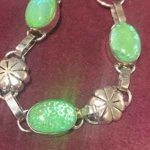 Bracelet green fire opal
